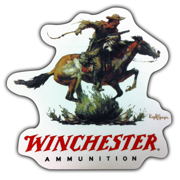 winchester firearms painted horse rider logo 6x6 decal ammunition lever action ebay. Black Bedroom Furniture Sets. Home Design Ideas